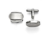 Black Enameled Stainless Steel Brushed And Polished Cuff Links