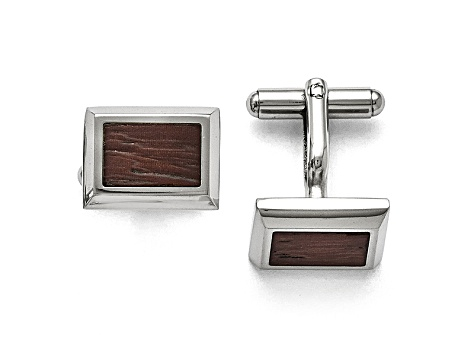 Wood inlay Stainless Steel Framed Cuff Links