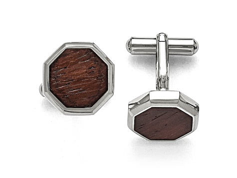 Wood inlay Stainless Steel Octagon Cuff Links