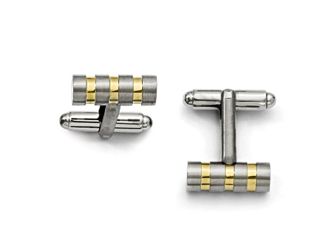 Titanium And Yellow Tone Ip Plating Over Titanium Striped Bar Cuff Links