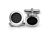 Titanium Black Carbon Fiber Circle Cuff Links