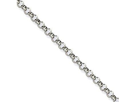 Stainless Steel 4.5mm Rolo Link 24 inch Chain Necklace