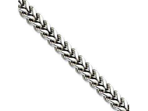 Stainless Steel 6.5mm Wheat Link 24 inch Chain Necklace