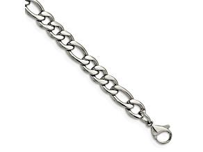 Stainless Steel Figaro Link 8 inch Bracelet