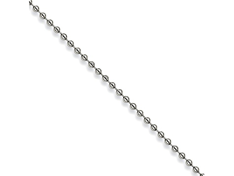 Stainless Steel 3mm Bead Link 24 inch Chain Necklace