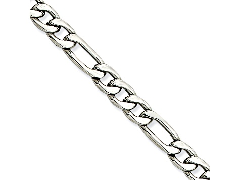 Stainless Steel 6mm Figaro Link 24 inch Chain Necklace