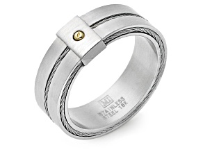 18k Yellow Gold Over Stainless Steel And Stainless Steel Two-Tone Band Ring