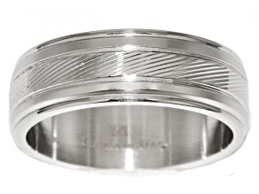 Stainless Steel Etched Band Ring