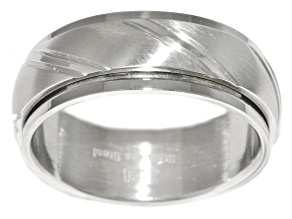 Stainless Steel Brushed Finish Spinner Band Ring