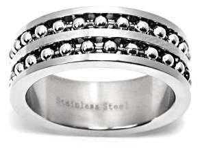 Stainless Steel Beaded Band Ring
