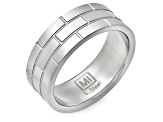 Stainless Steel Brick Pattern Band Ring