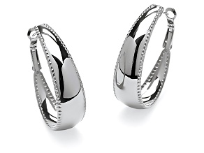 Stainless Steel Polished Beaded Edge Oblong Hoop Earrings