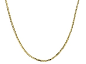 18k Yellow Gold Over Sterling Silver Flat Snake Link Chain Necklace 18 inch