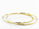 18k Yellow Gold Over Sterling Silver Knifehedge Bold Hoop Earrings 2mm