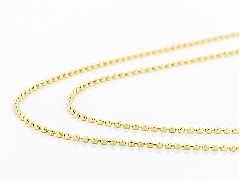 18k Yellow Gold Over Sterling Silver Diamond Cut Bead Chain Necklace Set