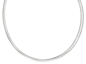 Sterling Silver 6mm Omega Necklace 17 inch
