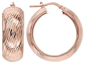 18k Rose Gold Over Sterling Silver Diamond Cut Hoop Earrings 10mm