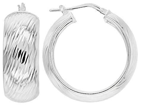 Sterling Silver Diamond Cut Hoop Earrings 10mm