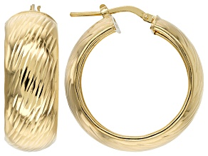 18k Yellow Gold Over Sterling Silver Diamond Cut Hoop Earrings 10mm