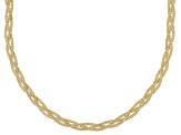 18k Yellow Gold Over Silver Reversible Braided Herringbone Necklace 18 inch