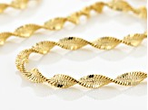 18k Yellow Gold Over Silver Diamond Cut Twisted Herringbone Necklace 22 inch