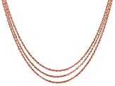 24k Rose Gold Over Silver Criss Cross Link Chain Set Of Three 18, 20, 22 inch