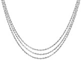 Sterling Silver Diamond Cut Criss Cross Link Chain Set Of Three 18, 20, 22 inch