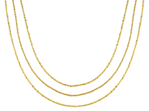 24k Yellow Gold Over Silver Criss Cross Link Chain Set Of Three 18, 20, 22 inch