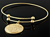 18k Yellow Gold Over Sterling Silver Milano Coin Flexible Bangle 7.75 inch