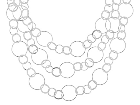 Sterling Silver Multi-Strand Circle Link Necklace