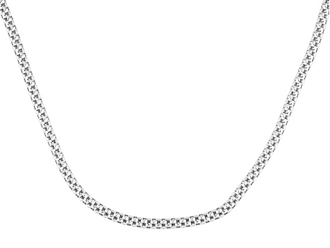 Sterling Silver Mesh Link Necklace 22 inch