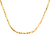 18k Yellow Gold Over Sterling Silver Hollow Mesh Link Necklace 22 inch