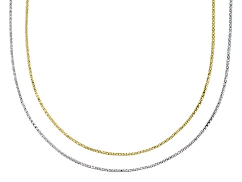 Silver And 18k Yellow Gold Over Silver Hollow Popcorn Link Chain Set Of Two
