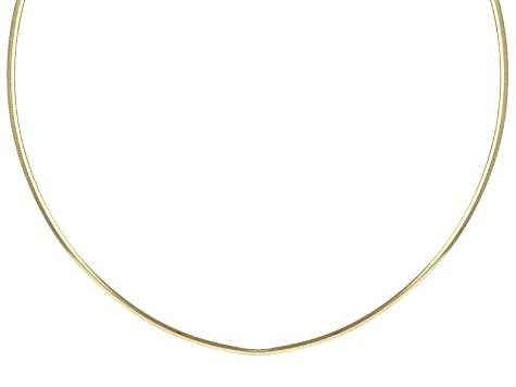 18k Yellow Gold Over Sterling Silver Omega Link Chain Necklace