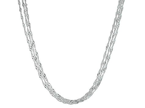 Sterling Silver Multi-Strand Diamond Cut Singapore Link Necklace