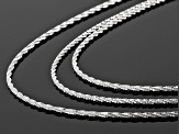 Silver Criss Cross Link Chain Set Of Three 18, 20 And 22 inch