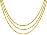 18k Yellow Gold Over Silver Criss Cross Link Chain Set Of Three