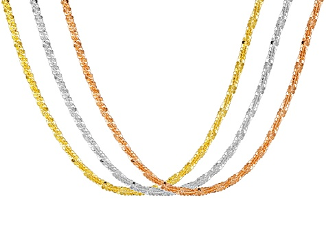 18k Rose And Yellow Gold Over Silver And Silver Chain Set Of Three 18 inch