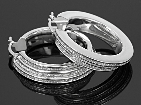 Rhodium Over Sterling Silver Tiered Glitter Three Row Tube Hoop Earrings