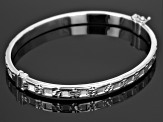Rhodium Over Sterling Silver Textured Bracelet 7 inch