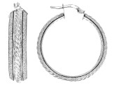 Rhodium Over Sterling Silver Glitter Cable Tube Hoop Earrings