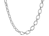 Sterling Silver 1+1 Oval Link Necklace 20 inch