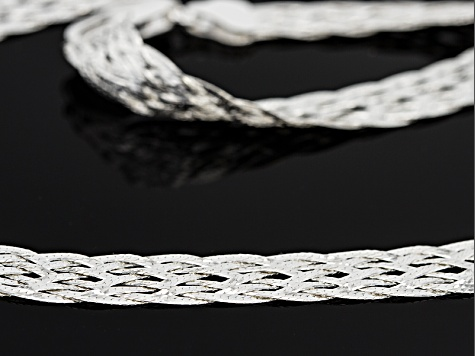Sterling Silver 8 Strand Braided Herringbone Link Necklace 20 inch