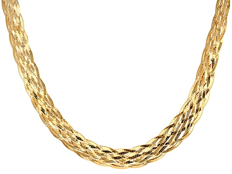 18k Yellow Gold Over Sterling Silver 8 Strand Braided Herringbone Link Necklace 18 inch