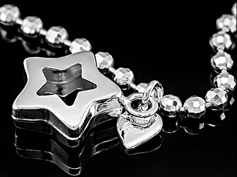 Sterling Silver Star Charm Sliding Adjustable Bracelet 8.25 inch