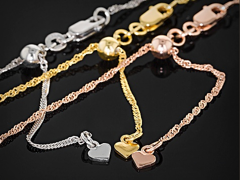 Rhodium Over Silver & 18k Yellow & Rose Gold Over Silver Chain Set Of Three
