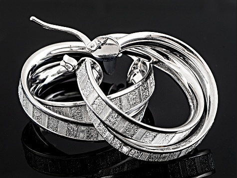 Rhodium Over Sterling Silver Glitter Baguette Crossover Tube Hoop Earrings