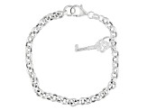 Sterling Silver Rolo Link With Key Charm Bracelet