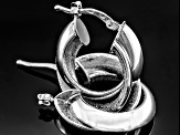 Rhodium Over Sterling Silver Tube Hoop Earrings