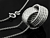 Rhodium Over Sterling Silver Love Knot Necklace 18 inch